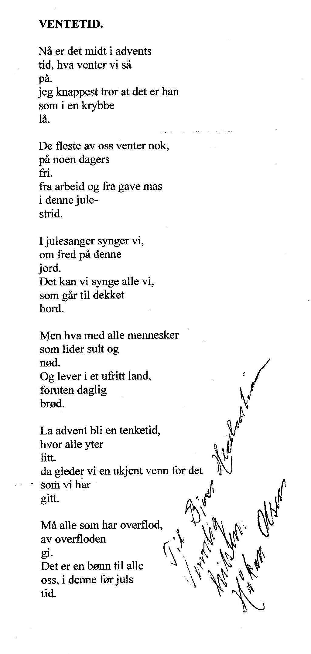 Diktet fra Håkon Olsen