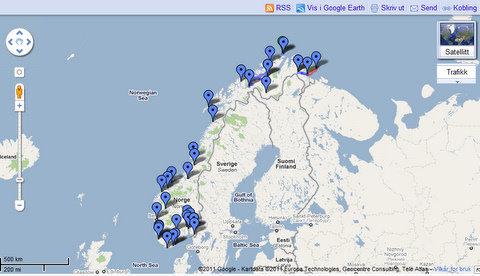 Google skisse av Norge på langs 2011 Bjørn @heidenstrom på Twitter