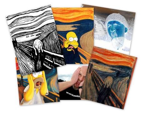 Collage av Skrik (Google image, Foto; Thomas B Sæteren og Bjørn Heidenstrøm )