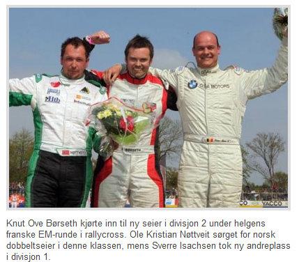 Knut Ove Børseth er i midten på bildet (Klipp fra www.bilsport.no )