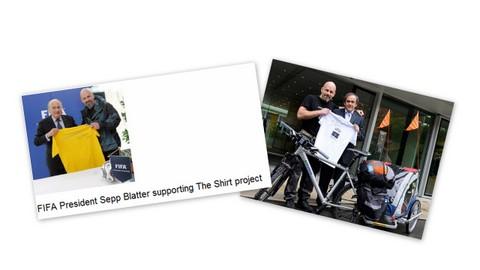 Sepp Blatter og Michel Platini og draktsyklist Bjørn Heidenstrøm
